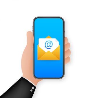 Значок электронной почты. смартфон на белом фоне. концепция бизнес технологий. концепция напоминания сообщения. значок почта. иллюстрации.