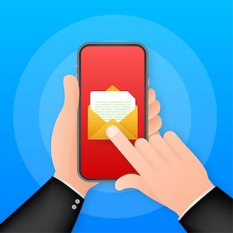 이메일 아이콘입니다. 흰색 바탕에 스마트폰입니다. 개념 비즈니스 기술입니다. 메시지 알림 개념입니다. 메일 벡터 아이콘입니다. 벡터 재고 일러스트 레이 션.