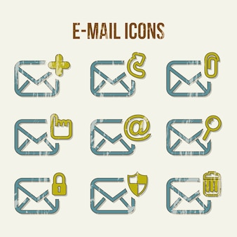 Email icons over beige background vector illustration