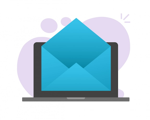 ラップトップコンピューターのpcのベクトルのアイコンにメールメールの封筒空の空白