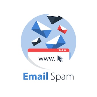 Email management, spam letters falling, overfull inbox, illustration