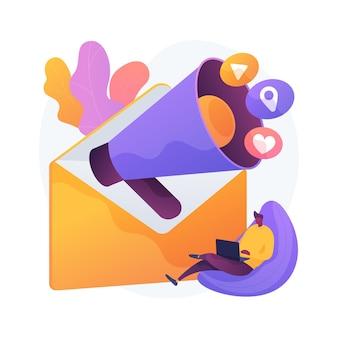 メールマーケティングの抽象的な概念のベクトル図。メールマガジンサービス、パーソナライズされたメッセージ、顧客とのつながり、自動送信ツール、許可ベースのマーケティングの抽象的なメタファー。