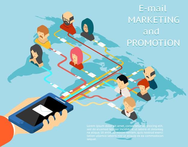 メールマーケティングとプロモーションモバイルアプリのアイソメトリック3dイラスト。オンラインサービス、ウェブメッセージ、ベクターイラスト
