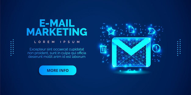 An email marketing background with a blue background.