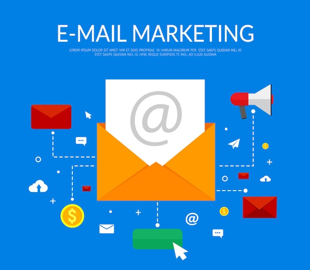 Email marketing on blue with open envelope, letter and icons.