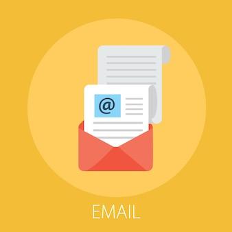 Маркетинговая кампания по электронной почте изолирована на желтом
