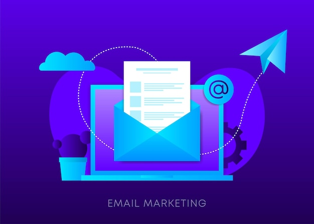 Email marketing concept on dark gradient background. laptop with envelope, open email and message on screen. sending email. vector illustration.