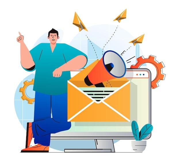 Концепция электронного маркетинга в современном плоском дизайне человек отправляет коммерческие письма и информационные бюллетени