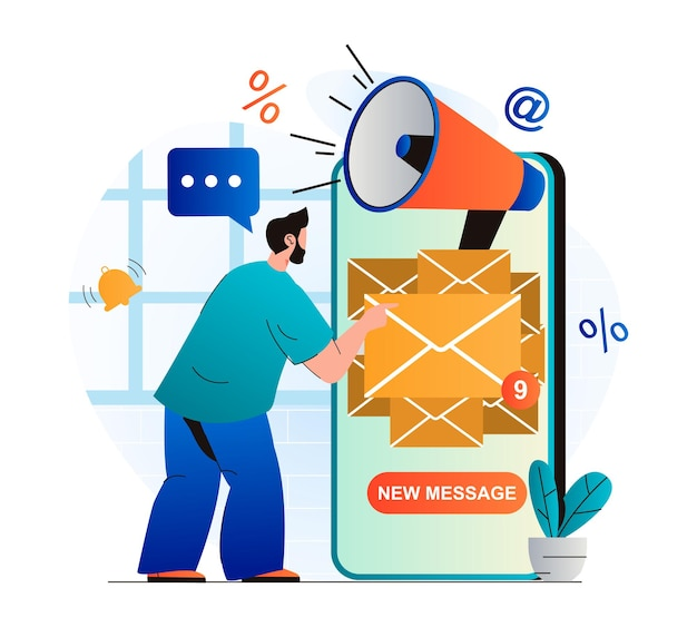 Email marketing concept in modern flat design man receiving new mails in mobile app