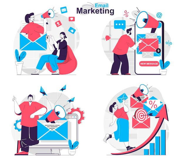 Email marketing concept set advertising mailings to promote business to customers