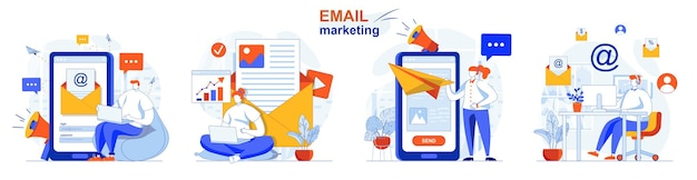 Email marketing concept set newsletter customers communication online promotion