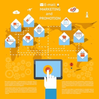 タブレットコンピューターを使用して、小売または商取引のアイコンのベクトル図を含む封筒として表示される電子メールのバッチを送信するビジネスマンとの電子メールマーケティングの概念