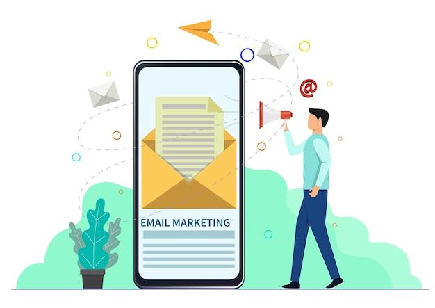 スマートフォンと人のキャラクターを使ったメールマーケティングのコンセプト