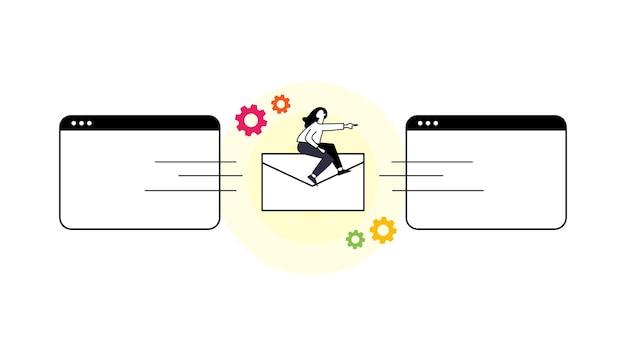 작은 문자를 사용한 이메일 마케팅 개념 사람들은 화면에서 광고 이메일을 열고 읽습니다.