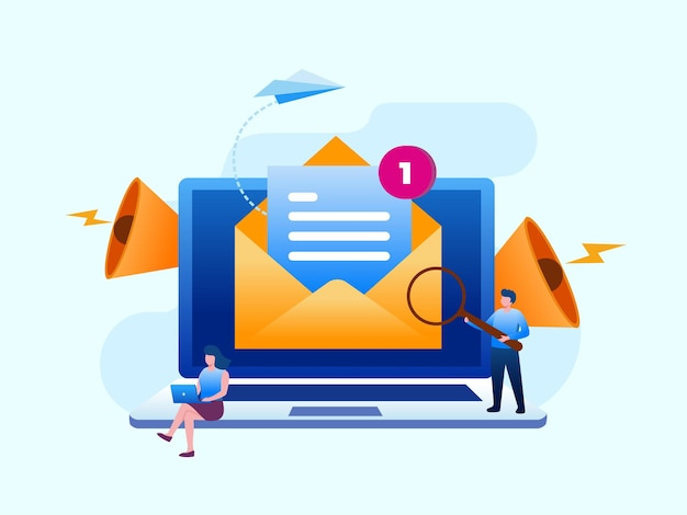 Email marketing flat vector illustration banner template