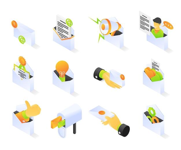아이소메트릭 스타일 프리미엄 현대 벡터 개념 세트에서 이메일 마케팅 아이콘