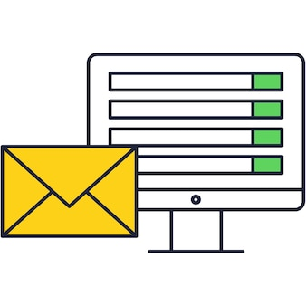 Email marketing icon with vector computer notice