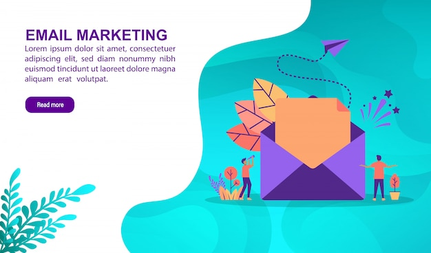 Email marketing illustration concept with character. landing page template