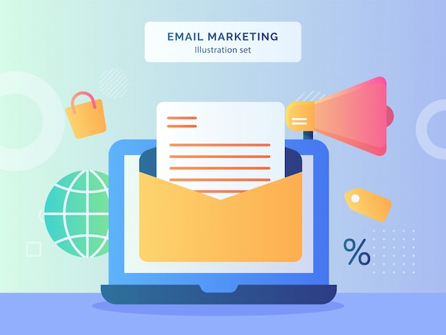 Email marketing illustration set open mail on display monitor laptop of globe shopping bag