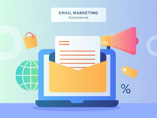 メールマーケティングのイラストは、グローブショッピングバッグのディスプレイモニターのラップトップに開いたメールを設定