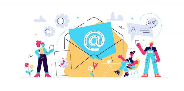 メールマーケティング、インターネットチャット、24時間サポート。連絡を取り、連絡を開始し、私たちに連絡し、オンラインフォームにフィードバックし、顧客と話し合うコンセプトを伝えます。明るく活気のあるバイオレット分離イラスト