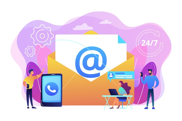 Email marketing, internet chatting, 24 hours support. get in touch, initiate contact, contact us, feedback online form, talk to customers concept.