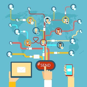 Рекламная рассылка. интернет-концепция коммуникационных технологий, сообщений и средств массовой информации и интернета. векторная иллюстрация