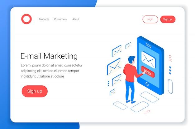 Eメールマーケティング等尺性概念。コミュニケーションデザイン。マーケティングの専門家がメールを送信します。平らな3 dスタイル。ランディングページテンプレート。図。