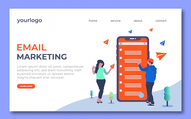 Email marketing landing page design. in this landing page has a man show email and the woman catch paper plane.