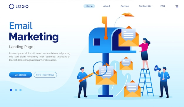 Email marketing landing page website illustration flat vector template