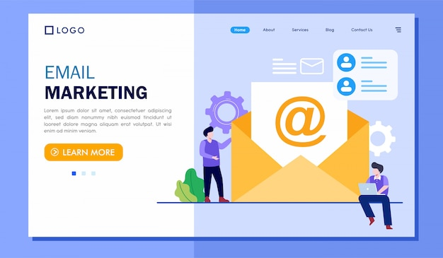 Email marketing landing page website illustration