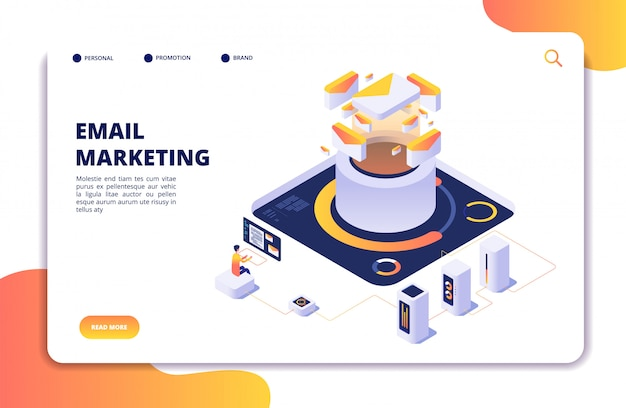Email marketing. mail automation strategy. email outbound newsletter campaign, mailing spammer services isometric vector landing page