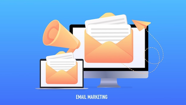 Email marketing online advertising concept laptop with envelope and read emails on the screen