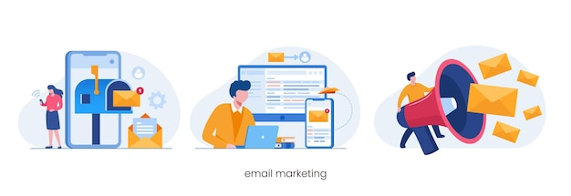 Email marketing, online business strategy, advertisement, flat illustration vector