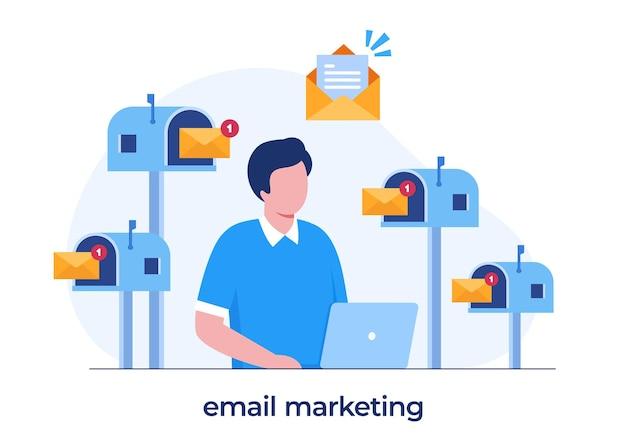 メールマーケティング、オンラインビジネス戦略、広告、ラップトップを持つ男、フラットイラストベクトル