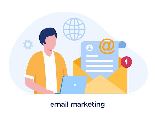 이메일 마케팅, 온라인 비즈니스 전략, 광고, 노트북을 가진 남자, 평면 그림 벡터