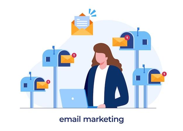 이메일 마케팅, 온라인 비즈니스 전략, 광고, 노트북을 가진 여성, 평면 그림 벡터