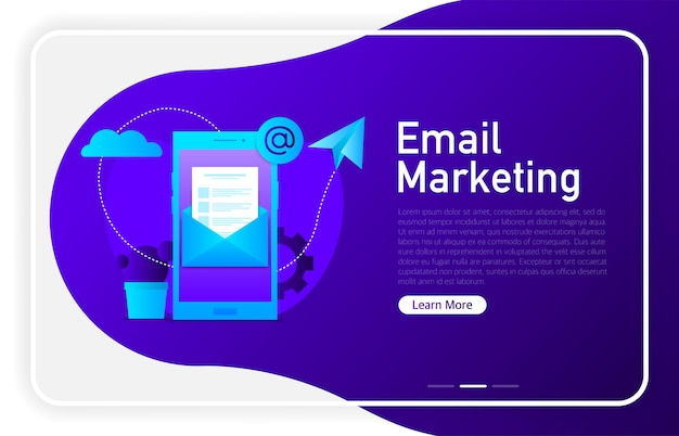 Email marketing on phone screen on dark gradient color. browser window. vector illustration.