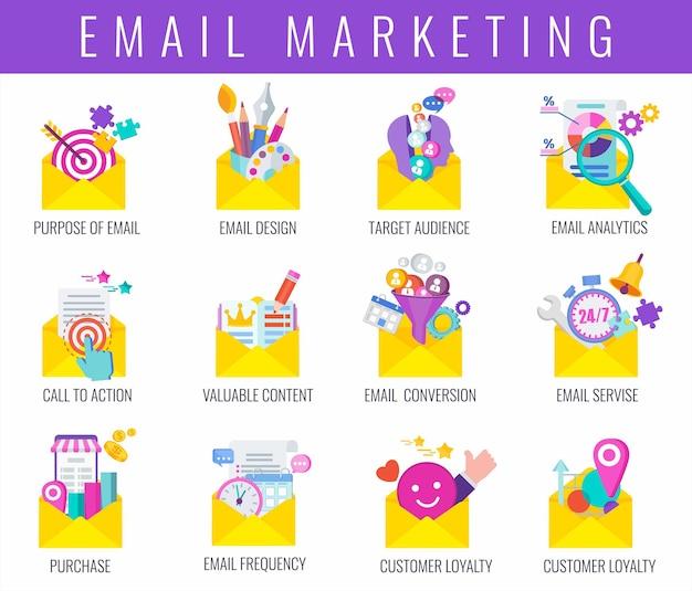 이메일 마케팅 전략 아이콘을 설정합니다. 이메일 뉴스레터로 고객을 유치하기 위한 성공적인 전략. 디지털 마케팅. 판매 깔때기. 고객 여정. 평면 벡터 일러스트 레이 션.