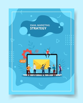 Email marketing strategy people standing front laptop for template flyer