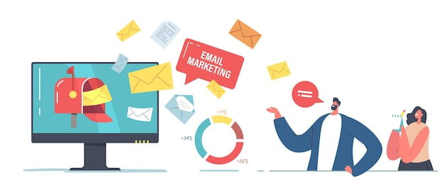 Email marketing technology concept. tiny businessman and businesswoman characters stand at huge computer desktop with email message envelopes flying out of screen. cartoon people vector illustration