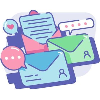 封筒の手紙と通知を含むeメールマーケティング