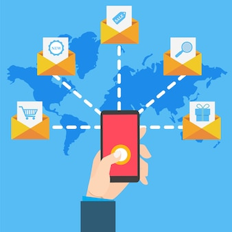 Email marketing with hand hand holding smartphone