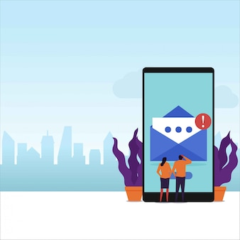 Email message flat vector concept couple receive email notification on phone screen.