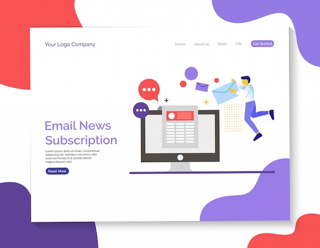 Email news and subscription anding page