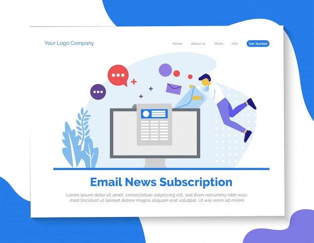 Email news subscription landing page