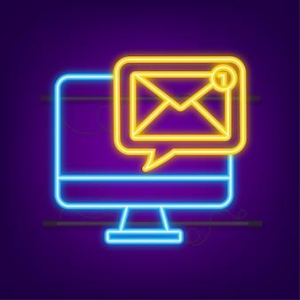 Eメール通知の概念ネオンアイコン新しいeメールeメールマーケティング通知ベル