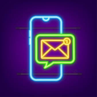 電子メール通知の概念。ネオンアイコン。スマートフォン画面の新着メール。ベクトルストックイラスト。