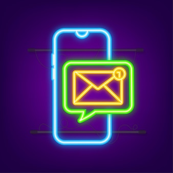 Email notification concept. neon icon. new email on the smart phone screen. vector stock illustration.