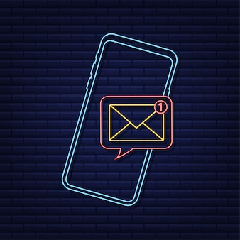 Email notification concept neon icon new email on the smart phone screen